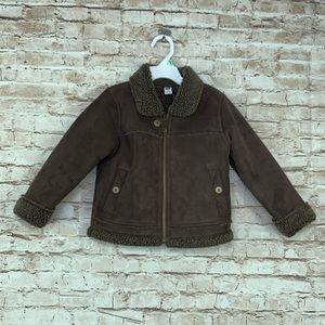 Gap boys brown jacket lined full zip 3T Sherpa